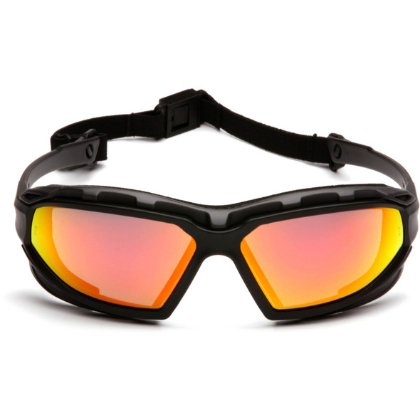Pyramex Highlander Plus Safety Glasses Black Foam-Lined Frame Sky Red Mirror Anti-Fog Lens SBG5055DT Front