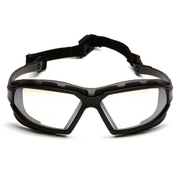 Pyramex Highlander Plus Safety Glasses Black Foam-Lined Frame Indoor/Outdoor Anti-Fog Lens SBG5080DT Front