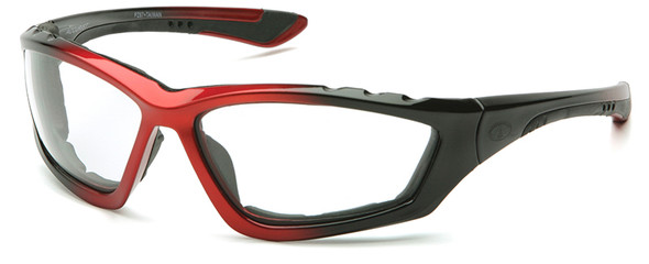 Pyramex Accurist Safety Glasses with Black/Red Frame and Clear Anti-Fog Lens SBR8710DTP