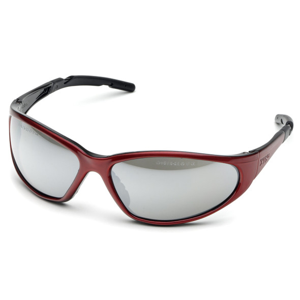 Elvex XTS Safety Glasses with Red Frame and Silver Mirror Lens SG-24M
