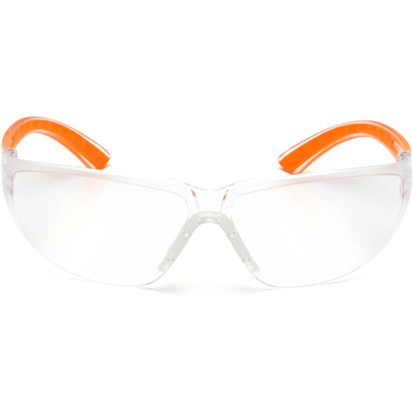 Pyramex Cortez Safety Glasses Orange Temples Clear Lens SO3610S Front