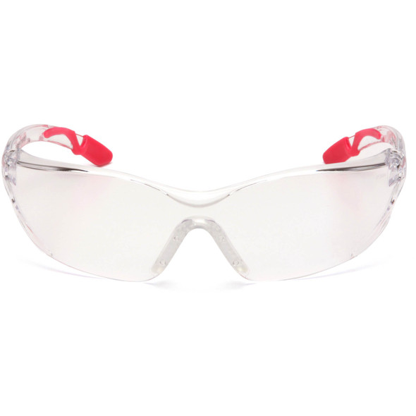 Pyramex Achieva Safety Glasses Pink Temple Tips Clear Lens SP6510S Front