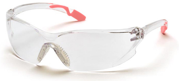 Pyramex Achieva Safety Glasses Pink Temple Tips Clear Lens SP6510S