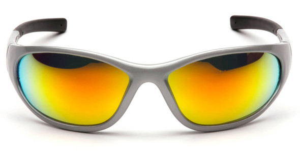Pyramex Zone 2 Safety Glasses with Silver Frame and Ice Orange Mirror Lens - Front