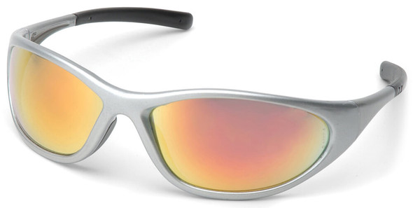 Pyramex Zone 2 Safety Glasses with Silver Frame and Ice Orange Mirror Lens