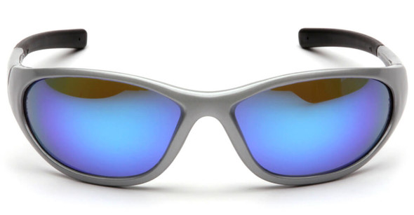 Pyramex Zone 2 Safety Glasses with Silver Frame and Ice Blue Mirror Lens - Front