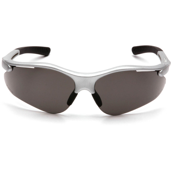 Pyramex Fortress Safety Glasses with Silver Frame and Gray Lens SS3720D Front View