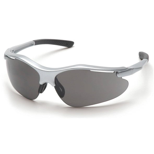 Pyramex Fortress Safety Glasses with Silver Frame and Gray Lens SS3720D