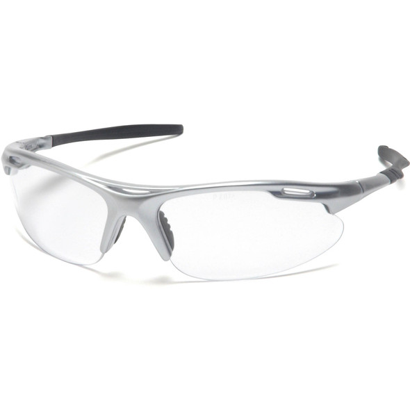 Pyramex Avante Safety Glasses with Silver Frame and Clear Lens SS4510D
