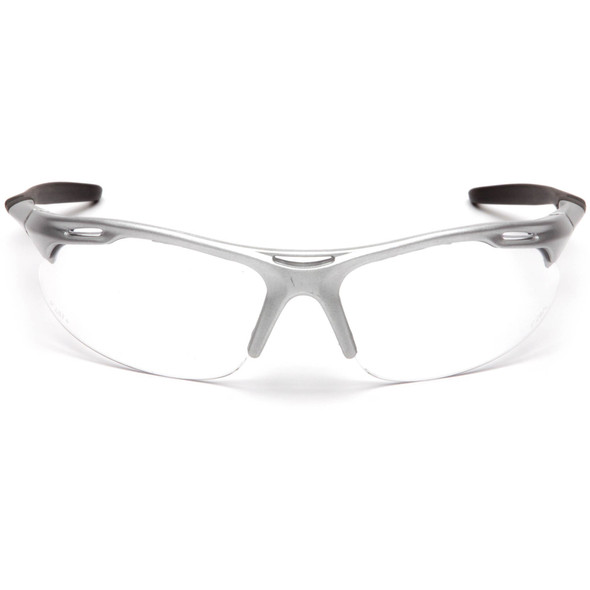 Pyramex Avante Safety Glasses with Silver Frame and Clear Lens SS4510D Front View