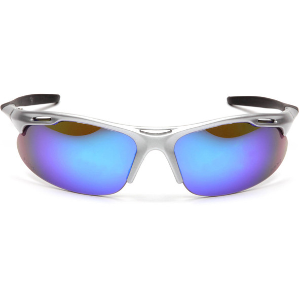 Pyramex Avante Safety Glasses with Silver Frame and Ice Blue Lens SS4585D Front View