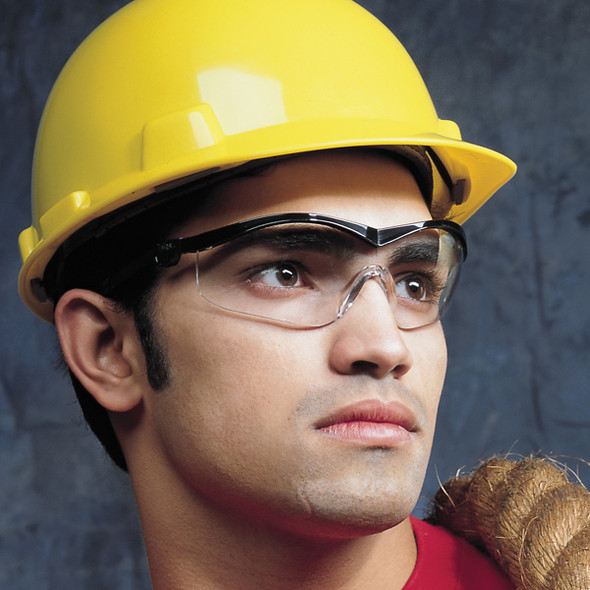 Crews Storm Safety Glasses with Black Frame and Clear Lens ST110 Worn