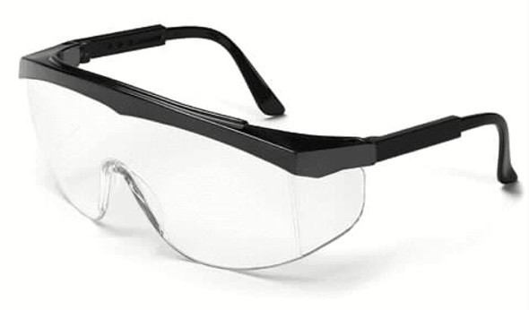 Crews Stratos Safety Glasses with Black Frame and Clear Lens SS110