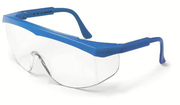 Crews Stratos Safety Glasses with Blue Frame and Clear Lens