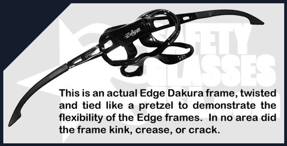Edge Dakura Safety Glasses with Black Frame and Silver Mirror Lens - Frame
