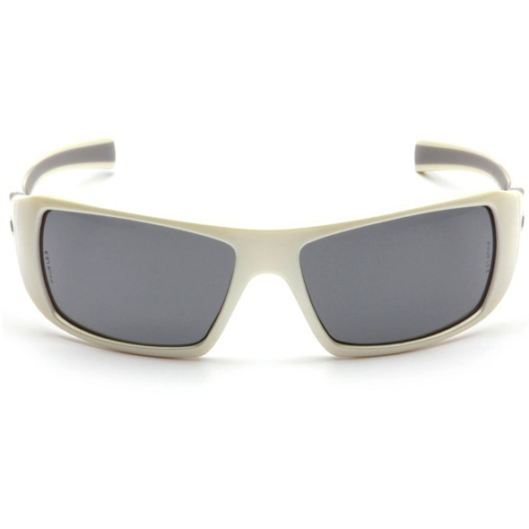 Pyramex Goliath Safety Glasses with Pearl White Frame and Gray Lens SW5620D Front View