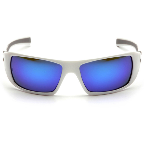Pyramex Goliath Safety Glasses with Pearl White Frame and Ice Blue Mirror Lens SW5665D Front View