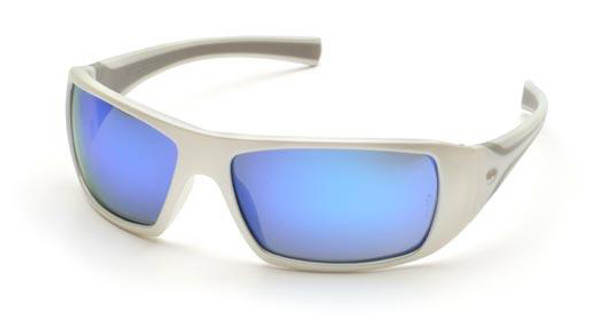 Pyramex Goliath Safety Glasses with Pearl White Frame and Ice Blue Mirror Lens
