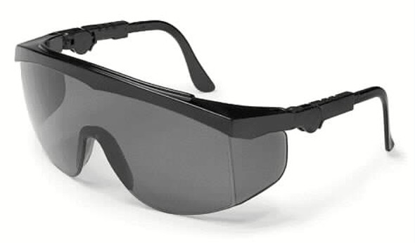 Crews Tomahawk Safety Glasses With Black Frame and Gray Lens
