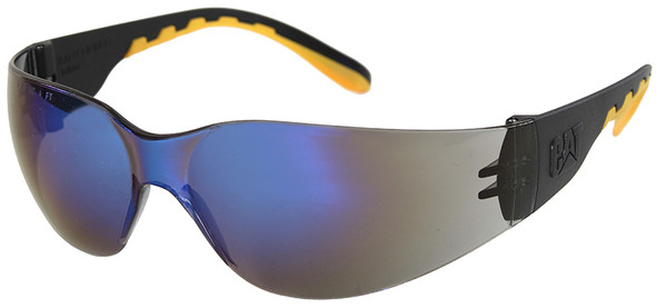 CAT Track Safety Glasses with Black Frame and Blue Mirror Lens