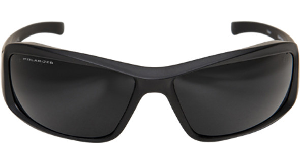 Edge Brazeau Torque Safety Glasses with Black Frame, Red E Logo and Polarized Smoke Lens - Front View
