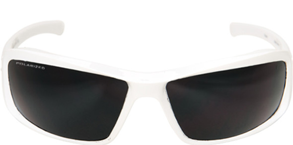 Edge Brazeau Safety Glasses with White Frame and Polarized Smoke Lens - Front View