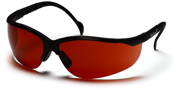 Pyramex Venture 2 Safety Glasses with Black Frame and Sun Block Bronze Lens