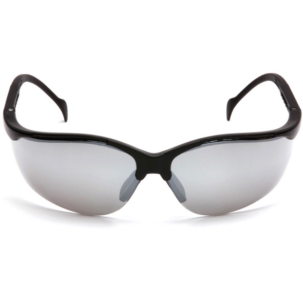 Pyramex Venture 2 Safety Glasses with Black Frame and Silver Mirror Lens SB1870S Front View