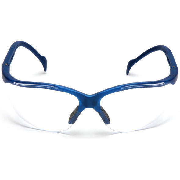 Pyramex Venture 2 Safety Glasses Metallic Blue Frame Clear Lens SMB1810S Front View