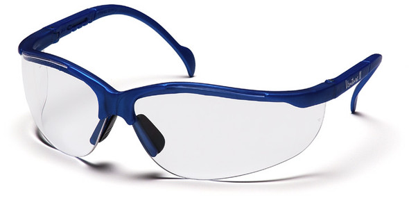 Pyramex Venture 2 Safety Glasses Metallic Blue Frame Clear Lens SMB1810S