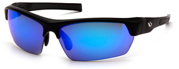 Venture Gear Tensaw Safety Sunglasses with Black Frame and Ice Blue Mirror Anti-Fog Lens