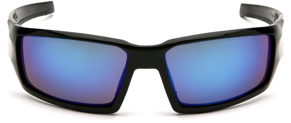 Venture Gear Pagosa Safety Sunglasses with Black Frame and Ice Blue Mirror Anti-Fog Lens - Front
