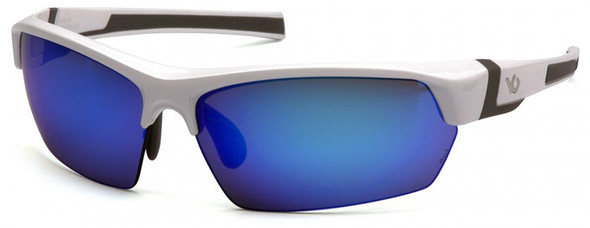 Venture Gear Tensaw Safety Sunglasses with White and Gray Frame and Ice Blue Mirror Anti-Fog Lens