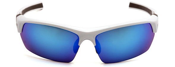 Venture Gear Tensaw Safety Sunglasses with White and Gray Frame and Ice Blue Mirror Anti-Fog Lens - Front