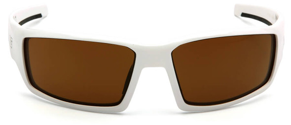 Venture Gear Pagosa Safety Sunglasses with White Frame and Bronze Anti-Fog Lens - Front