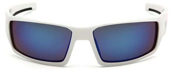 Venture Gear Pagosa Safety Sunglasses with White Frame and Ice Blue Mirror Anti-Fog Lens - Front