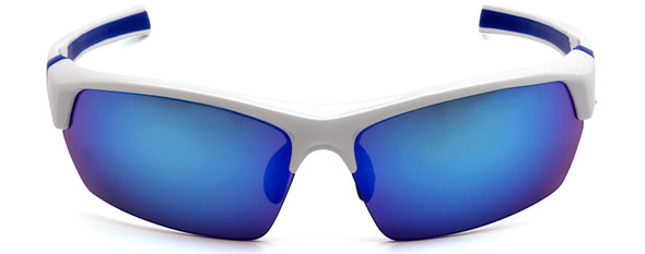 Venture Gear Tensaw Safety Sunglasses with White and Blue Frame and Ice Blue Mirror Anti-Fog Lens - Front