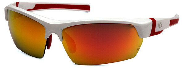 Venture Gear Tensaw Safety Sunglasses with White and Red Frame and Sky Red Mirror Anti-Fog Lens