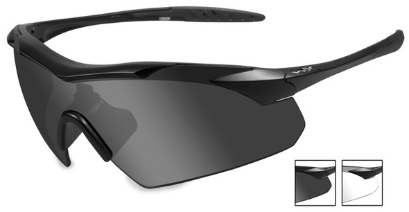 Wiley X Vapor Safety Sunglasses with Matte Black Frame and Grey and Clear Lenses
