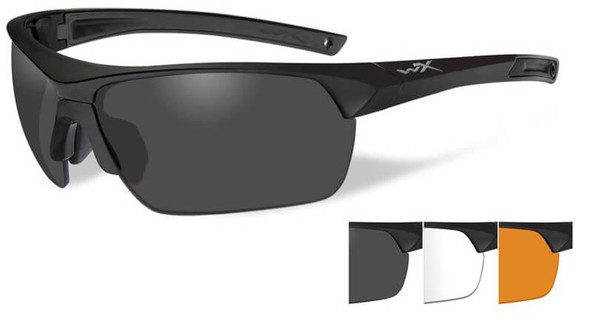 Wiley X Guard Advanced Ballistic Safety Glasses Kit with Matte Black Frame and Smoke Grey, Clear and Light Rust Lenses