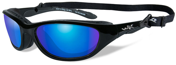 Wiley X AirRage Safety Sunglasses with Gloss Black Frame and Polarized Blue Mirror Lens