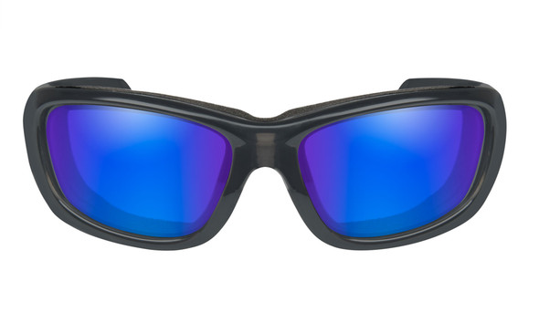 Wiley X Gravity Safety Sunglasses with Black Crystal Frame and Polarized Blue Mirror Lens Front View