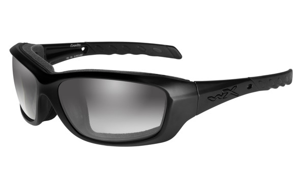 Wiley X Gravity Safety Sunglasses with Gloss Black Frame and Light Adjusting Smoke Grey Lens CCGRA05