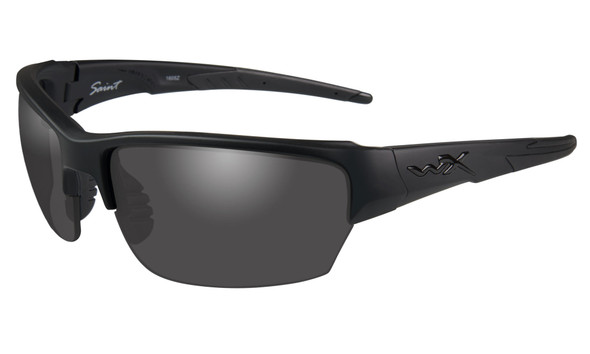 Wiley X Saint Safety Sunglasses with Matte Black Frame and Smoke Gray Lenses CHSAI08