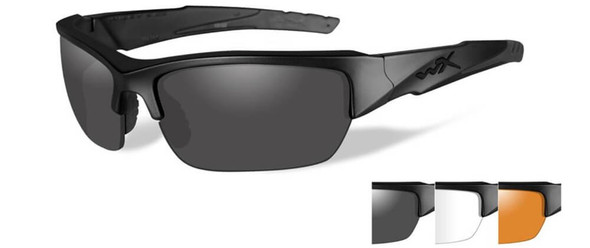Wiley X Valor Ballistic Sunglasses Kit with Matte Black Frame and Smoke Grey, Clear, and Light Rust Lenses