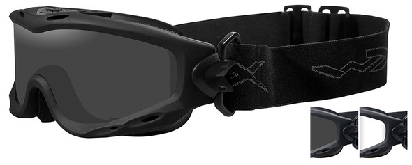 Wiley X Spear Ballistic Safety Goggle with Matte Black Frame and Smoke Grey and Clear Lenses