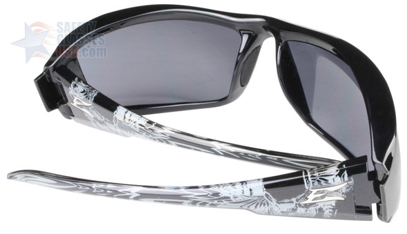 Edge Brazeau Designer Series with Black/Gray Skull Frame and Smoke Lens - Back/Temple View