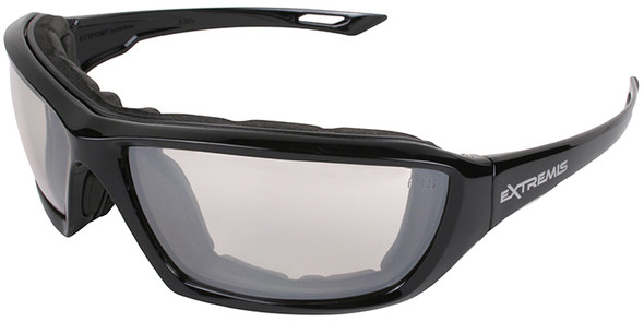 Radians Extremis Safety Glasses with Black Gloss Frame and Indoor/Outdoor Anti-Fog Lens with Foam Seal