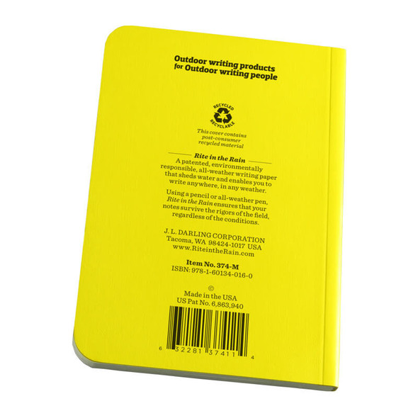 Rite In The Rain Memo Book Yellow - Back Cover