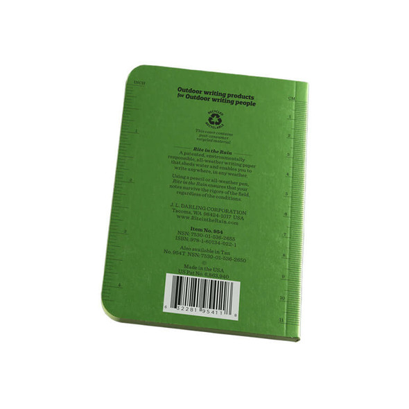 Rite In The Rain Memo Book Green - Back Cover